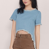 Amelie Frayed Denim Top