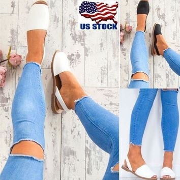 US WOMENS SUMMER CASUAL PEEP TOE SANDALS BEACH MULES SLIDERS FLAT SHOES SIZE NEW