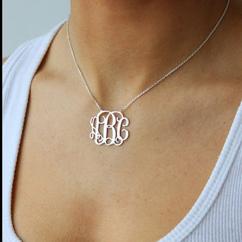 Monogrammed Sterling Silver Necklace- Bridesmaids- Gift