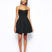 River Island Textured Strapless Prom Dress