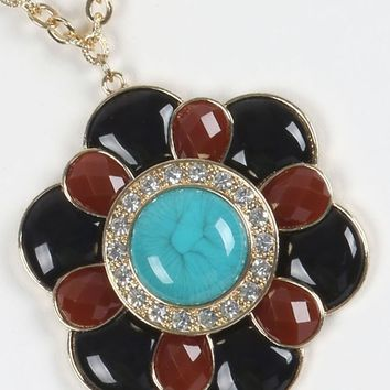 Brown Black Turquoise  Fauceted Lucite Floral Pendant Necklace & Earring Set