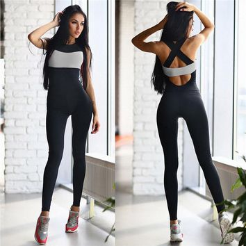 Woman Long Jumpsuit Yoga Sets Polyester Fitness Sports Dance Weight Loss Yoga Suits Workout Clothes Rose White Gray S-XL