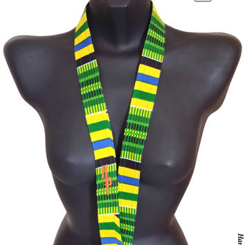African Kente Unisex Lanyard | Kente Cloth | Embroidered Lanyard | Fabric Lanyard | Work Badge Swivel-hook Lanyard by Hamlet Pericles