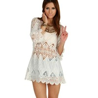 White Cover Me In Crochet Tunic