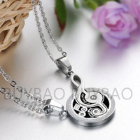 "1 Pair Couple Lover Women Men Music Note Pendant ""I Love You"" Necklace Pendants"