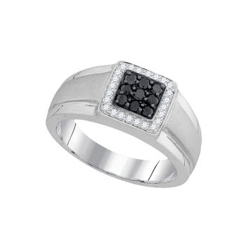 10kt White Gold Mens Round Black Colored Diamond Square Cluster Ring 3/8 Cttw 94054