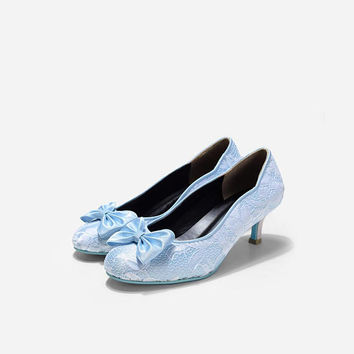 Cranberry Skyfall Baby Blue Lace Pumps, Custom Made Powder Blue Lace Heels, Baby Blue Custom Made Kitten Pumps, Something Blue Wedding Shoes