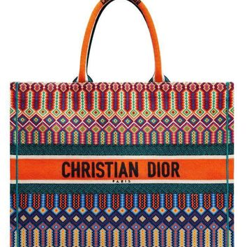 Dior Book Tote - Multicolored Orange