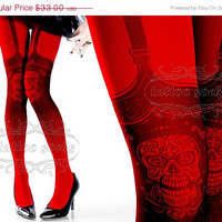 BLK fri CYBER mon Sale Tattoo Tights,  Day of the Dead garters illusion print Red one size full length closed toe printed tights pantyhose