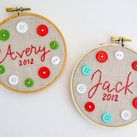 Personalized Christmas Ornaments - Linen Embroidery Hoop