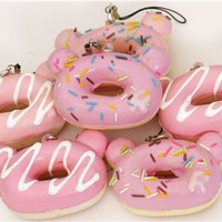 pale pink Rilakkuma bear head donut squishy charm - Squishies - Accessories