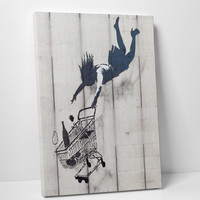 Shop Till You Drop by Banksy Gallery Wrapped Canvas Print
