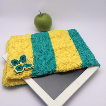 NEW YEAR SALE Cute I-Pad case butterfly Sleeve iPad Air Case iPad Air 2 iPad Made in Italy Crochetted Knitted Yellow Ooak For Her Christmas