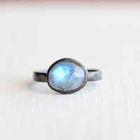 SALE- Rainbow Moonstone Ring in Oxidized Sterling Silver - Riffle Ring - Size 7