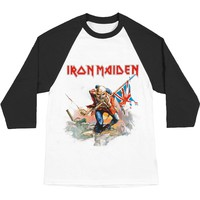 Iron Maiden Men's  Trooper Baseball Jersey White