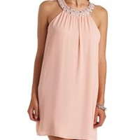 Beaded Diamante Halter Shift Dress by Charlotte Russe - Nude