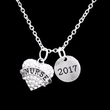 2017 Nurse Crystal Heart Class Of 2017 Graduation Gift Charm Necklace