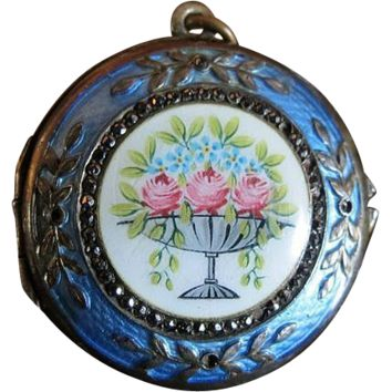 Antique Guilloche Enamel Sterling Silver 19c French Locket