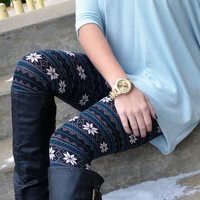Winter Whisper Blue Snowflake Leggings