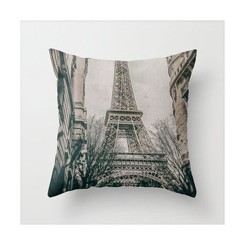 The Eiffel Tower view from the streets in Paris (Vintage throw pillow, 1900's plate camera photo style)