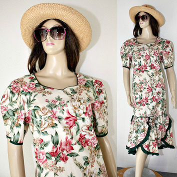 Vintage Hawaiian Dress - Garden Party / Cruise / Resort - Floral Print  Cotton -Tent / Trapeze Style - 80's - estate sale find