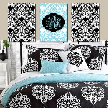 DAMASK Wall Art Monogram Artwork Aqua Blue Black White Girl Bedroom Nursery Ornamental Design Set of 3 Trio Prints Decor  Bathroom Three