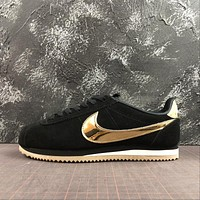 Nike Classic Cortez Black Metallic Gold Sport Shoes