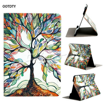 OOTDTY Hot Sale Tree Pattern Flip Stand PU Leather  Box Cover Holster For Apple iPad Mini 1 2 3 Top Quality