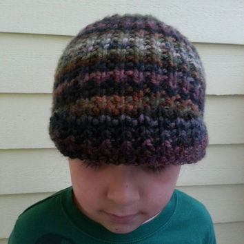 Hand Knit Camo Beanie Hat with Soft Visor for Toddler and Young Child