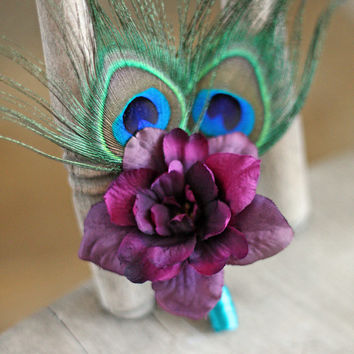 MADE TO ORDER - Plum and Teal Peacock Ladies Pin on Corsage