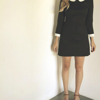 Peter Pan collar dress Wednesday Addams family COTTON/LYCRA version