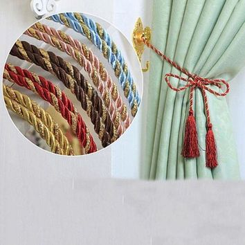 PEAP78W New 1 PCS Window Cotton Rope Tie Backs Curtain Fringe Tiebacks Room Tassel Decor 8 Colors