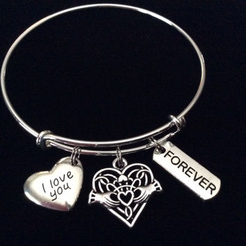 Celtic Claddagh I Love You Silver Expandable Charm Bracelet Adjustable Stacking Bangle