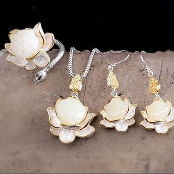 White Hetian Jade Lotus Necklace   925 Silver Inlay Earrings   L a3dfb9069c94