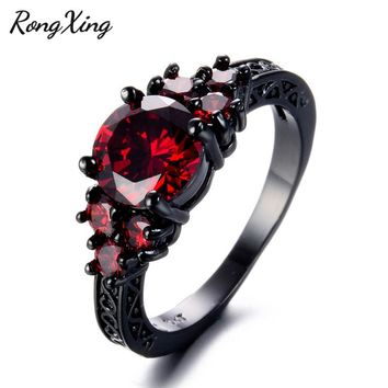 RongXing Vintage Black Gold Filled Red Zircon July Birthstone Rings for Women Men Wedding Fashion Jewelry Engagement Ring RB1353