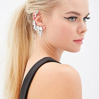 FOREVER 21 Clustered Rhinestone Earcuff Set Silver/Clear One