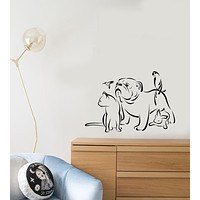Vinyl Wall Decal Pets Grooming Salon Logo Animals Dog Cat Parrot Stickers (4042ig)