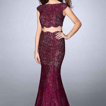 La Femme - 24047 Two Piece Lace Overlay Scallop Edge Detail Long Prom Dress