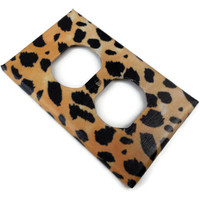 Leopard Print Outlet Cover Plate, Paper Decoupage, Varnished
