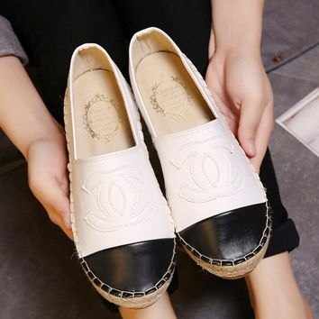 CHANEL Popular Women Casual Espadrilles Flats Shoes White I