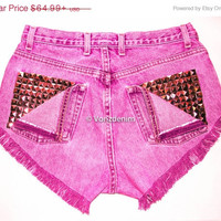 CIJ SALE High Waisted Studded Shorts, Vintage Denim Shorts, High Rised Frayed Denim Shorts, Coachella Fashion, Fuchsia Denim Shorts, Plus Si