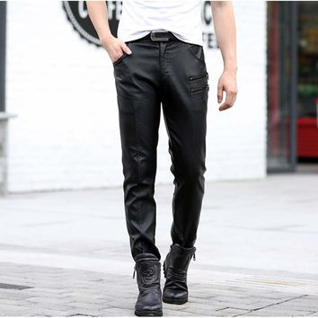 Winter Warm Men Plus Size Pu Leather Pants Male Oversize Straight Faux Leather Casual Pants