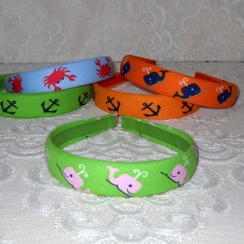 Preppy Nautical Whale Anchor Crab Headband in 5 Colors