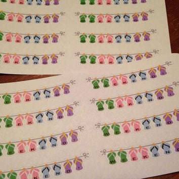 Set of 8 Pre-cut Flip Flops Weekend Banner Stickers - Perfect for your planner or scrapbook