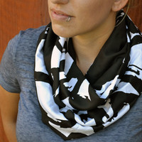 Spring infinity scarf, cowl, neck tie, summer fashion in black and white print