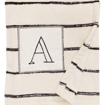 Levtex Plush Stripe Monogram Throw Blanket | Nordstrom