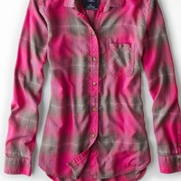 AEO 's Plaid Boyfriend Shirt (Pink)