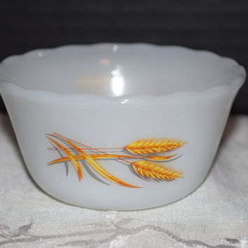 Anchor Hocking Fire King Sheaves of Wheat Pattern Vintage Fire King Custard Cup in Wheat Pattern 6oz Fire King #424 Small Pudding Cup