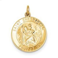 St. Christopher Medal, Pendants and Charm in 24k Gold-Plated Sterling Silver
