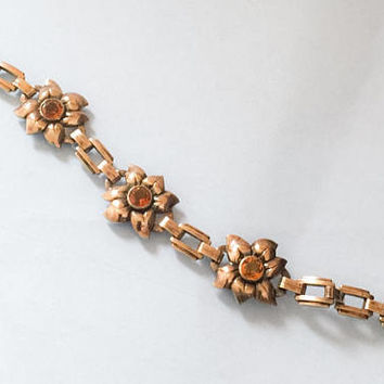 Amber Glass Bracelet, Flower, Art Deco 1940s Vintage Jewelry SALE